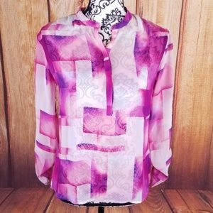 ANA Pink Colorblock Button Burnout Career Blouse